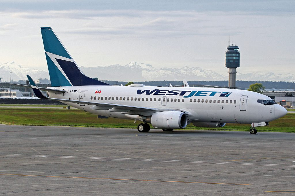 WestJet Boeing 737 7CT C FLWJ taxiing at YVR
