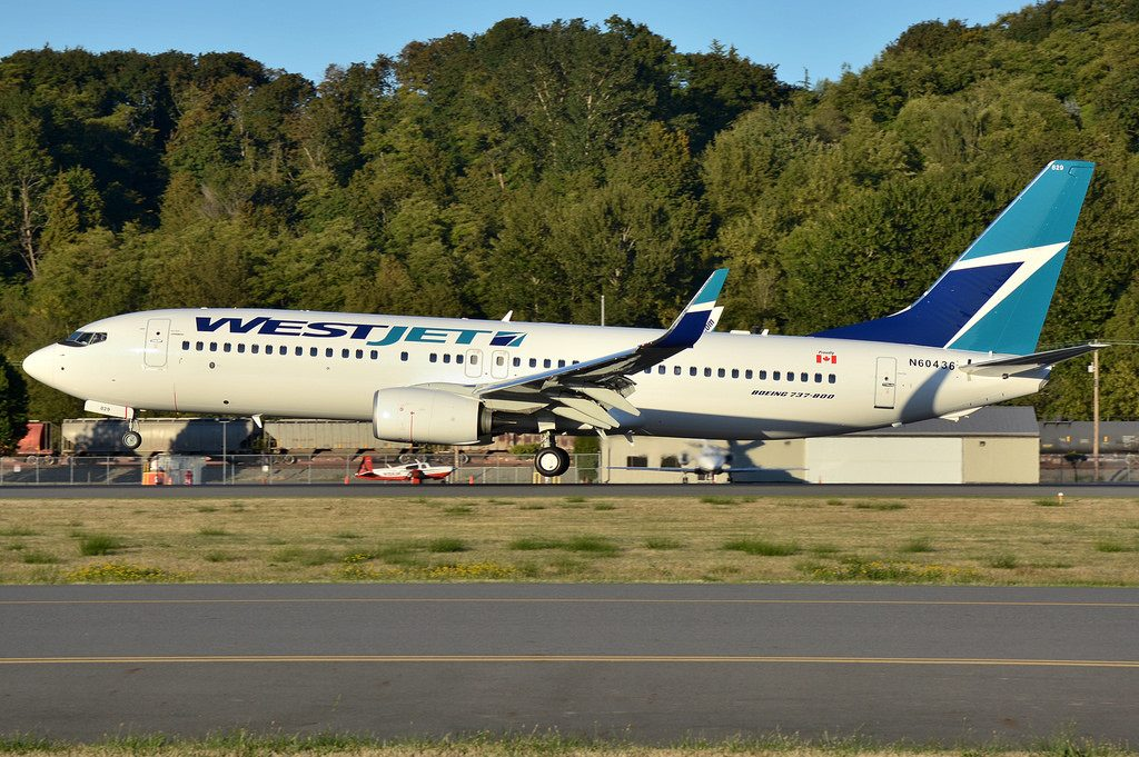 WestJet Boeing 737 800 C FKRF at Boeing Field King County International Airport
