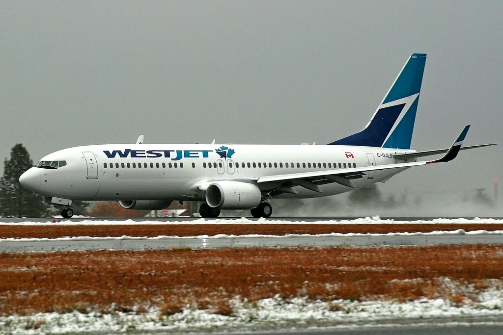 WestJet Boeing 737 800 C GJLS at Victoria International Airport