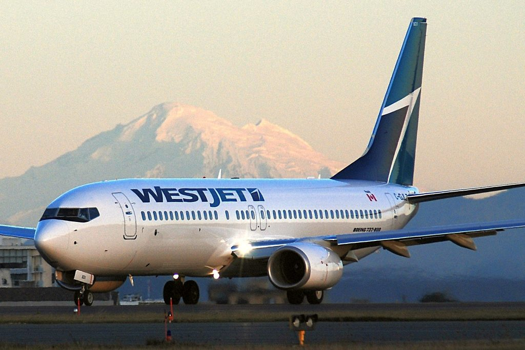 WestJet Boeing 737 800 C GJLZ at Victoria Airport