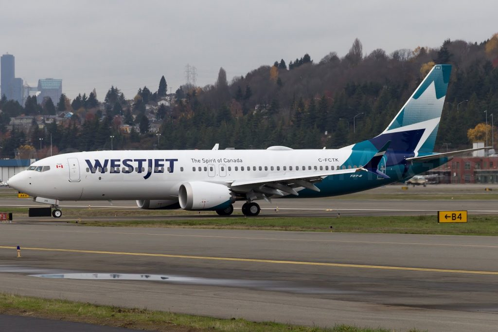 WestJet Boeing 737 Max 8 C FCTK test flight at BFI Airport