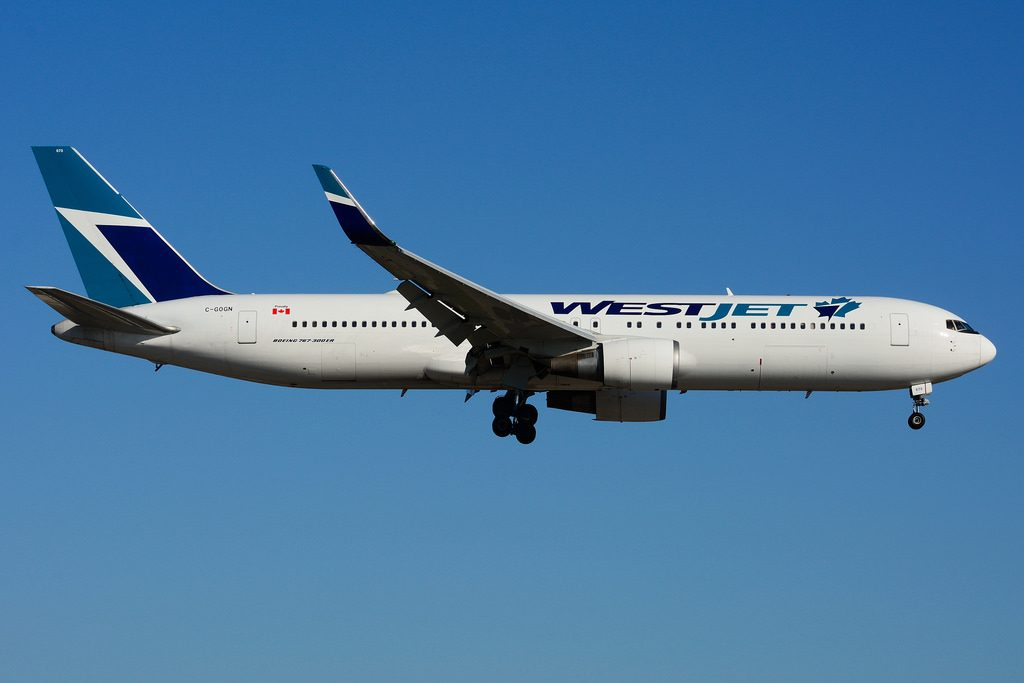 WestJet C GOGN Widebody Boeing 767 300ERW leased from BCC at Toronto Lester B. Pearson Airport YYZ