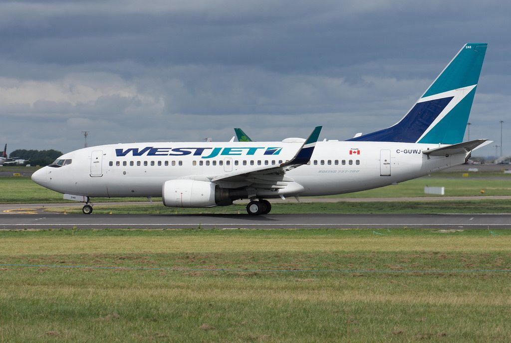 WestJet C GUWJ Boeing 737 7CTWL Departing Dublin for St Johns