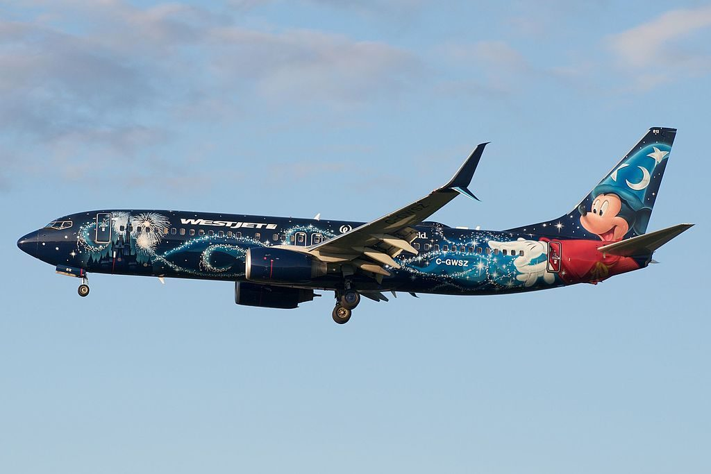 Westjet Boeing 737 800 C GWSZ Walt Disney World Micky Mouse cs on final at Toronto Pearson International Airport