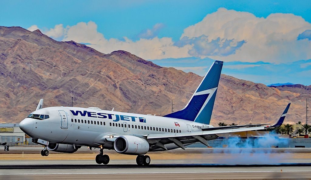 Westjet C FIBW Boeing 737 7CT landing at Las Vegas McCarran International LAS KLAS