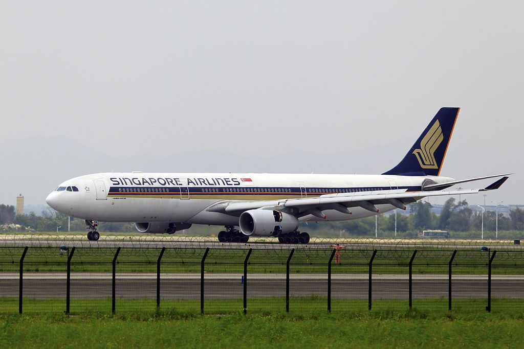 9V STR Singapore Airlines Airbus A330 343X landing at Guangzhou Baiyun International Airport CAN