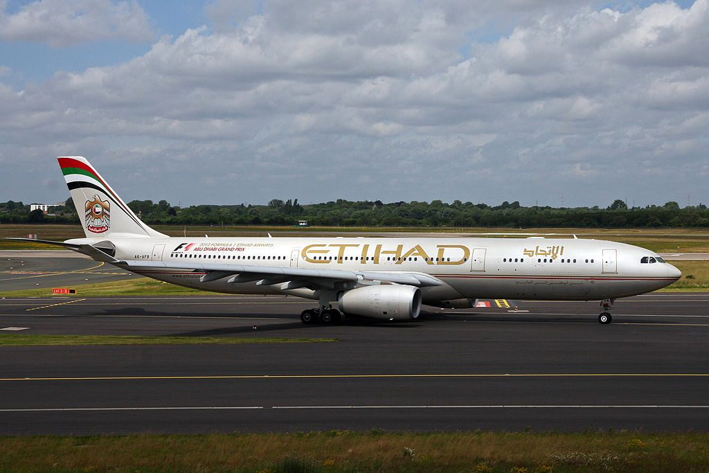 A6 AFB Airbus A330 343E Etihad Airways F1 Abu Dhabi Grand Prix Livery at Düsseldorf Airport