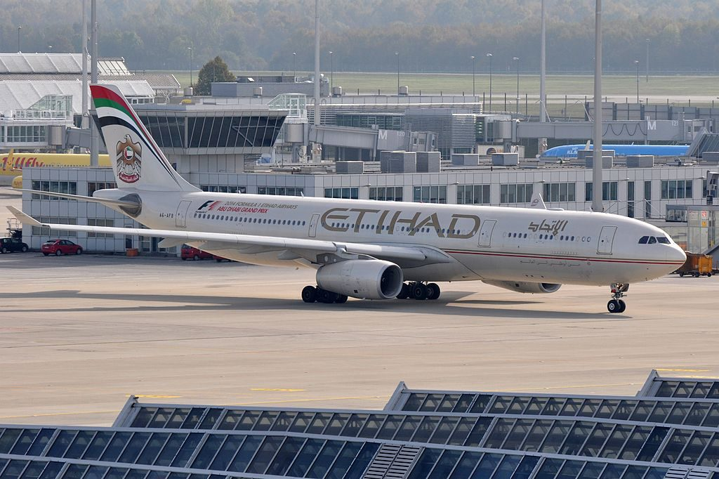 A6 AFB Airbus A330 343E Etihad Airways F1 Abu Dhabi Grand Prix Livery at Munich Airport
