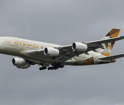 A6 APA Airbus A380 800 of Etihad Airways at London Heathrow Airport