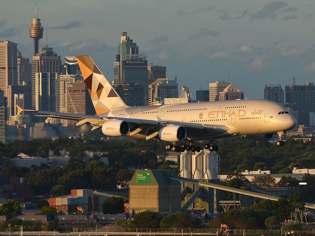 A6 APB Etihad Airways Airbus A380 861 on short finals at Sydney Airport