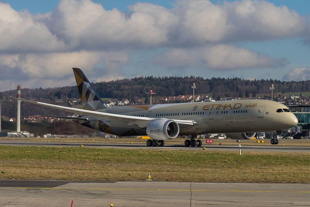 A6 BLE Boeing 787 9 Dreamliner of Etihad Airways at Zurich International Airport