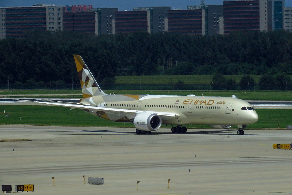 A6 BLN Boeing 787 9 Dreamliner of Etihad Airways at Beijing Capital International Airport