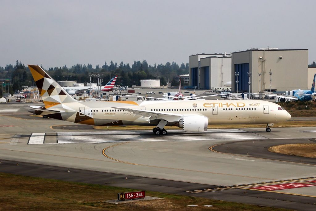 A6 BLU Etihad Airways Boeing 787 9 Dreamliner testing at Paine Field Airport