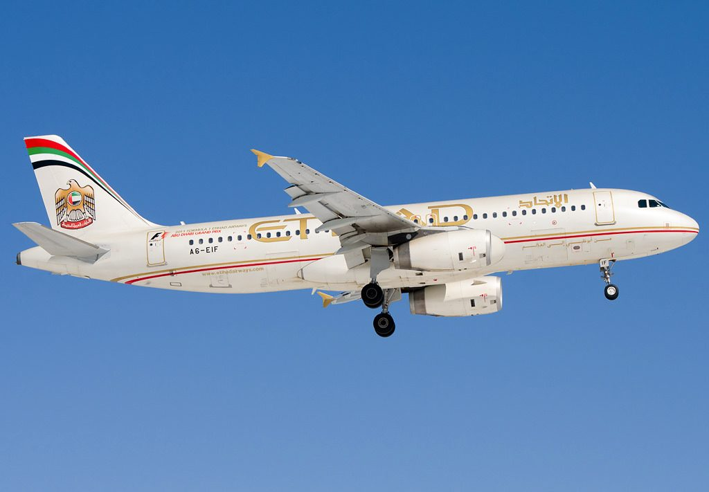 A6 EIF Etihad Airways Airbus A320 232 at Domodedovo airport Moscow