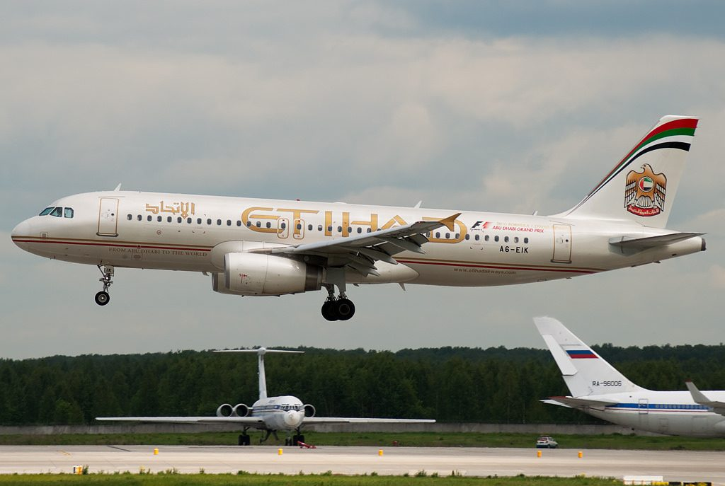 A6 EIK Etihad Airways Airbus A320 232 at Domodedovo airport Moscow