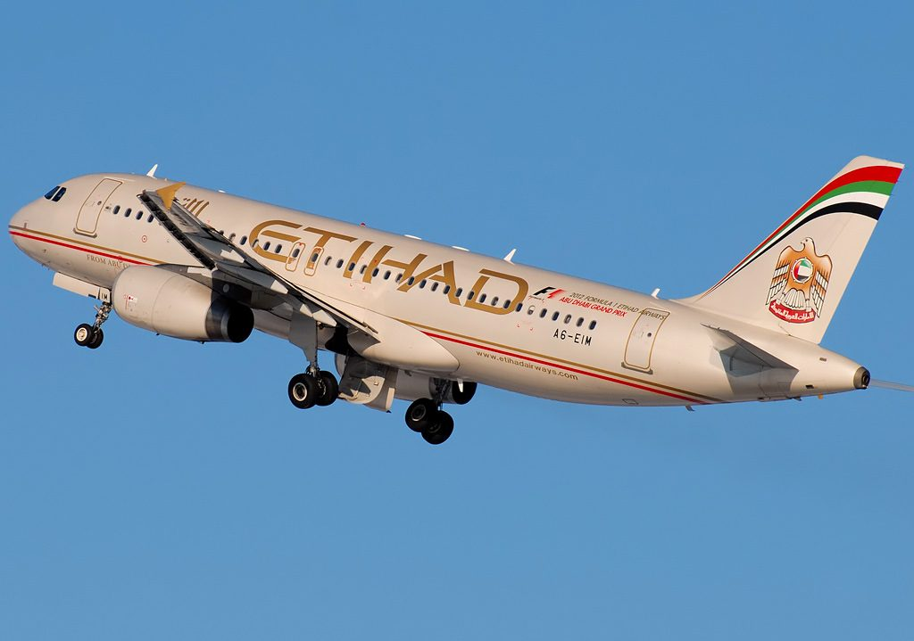 A6 EIM Etihad Airways Airbus A320 232 departing Domodedovo airport Moscow