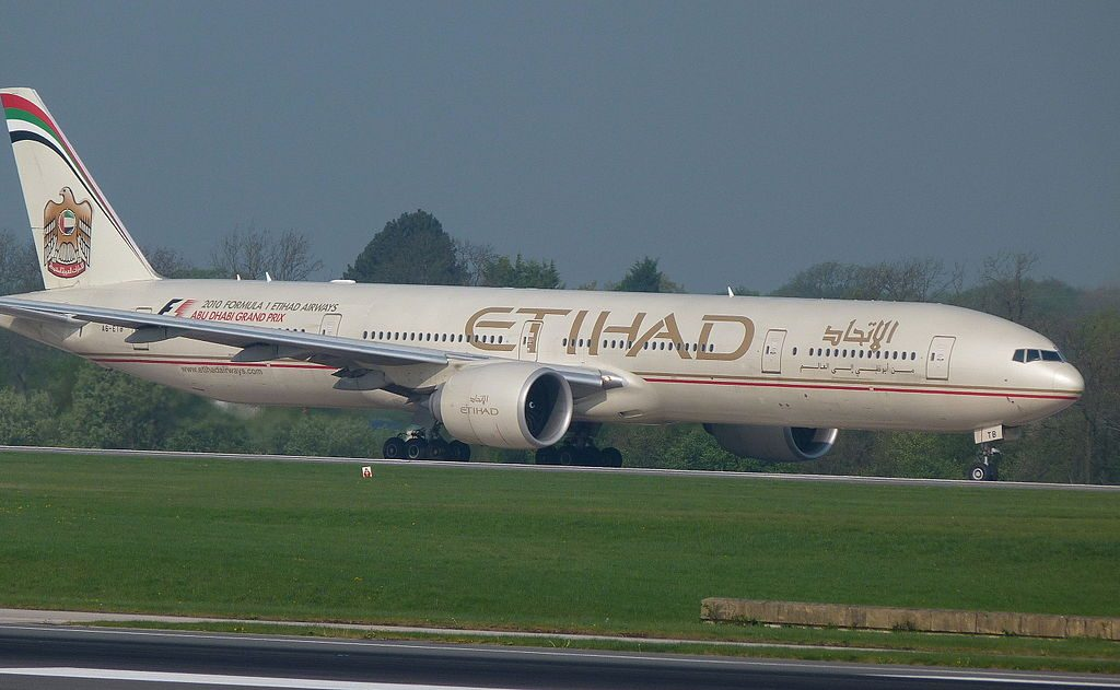 A6 ETB Boeing 777 300ER of Etihad Airways at Manchester Airport