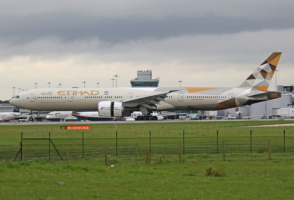 A6 ETD Boeing 777 300ER of Etihad Airways at Manchester Airport