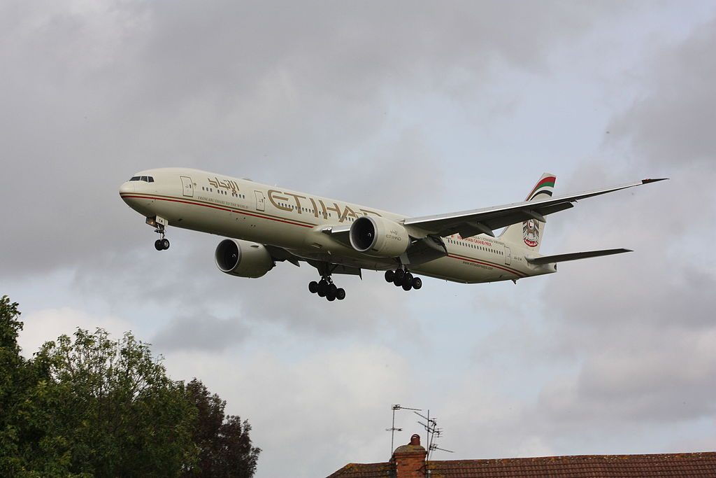A6 ETM Boeing 777 300ER of Etihad Airways at London Heathrow Airport