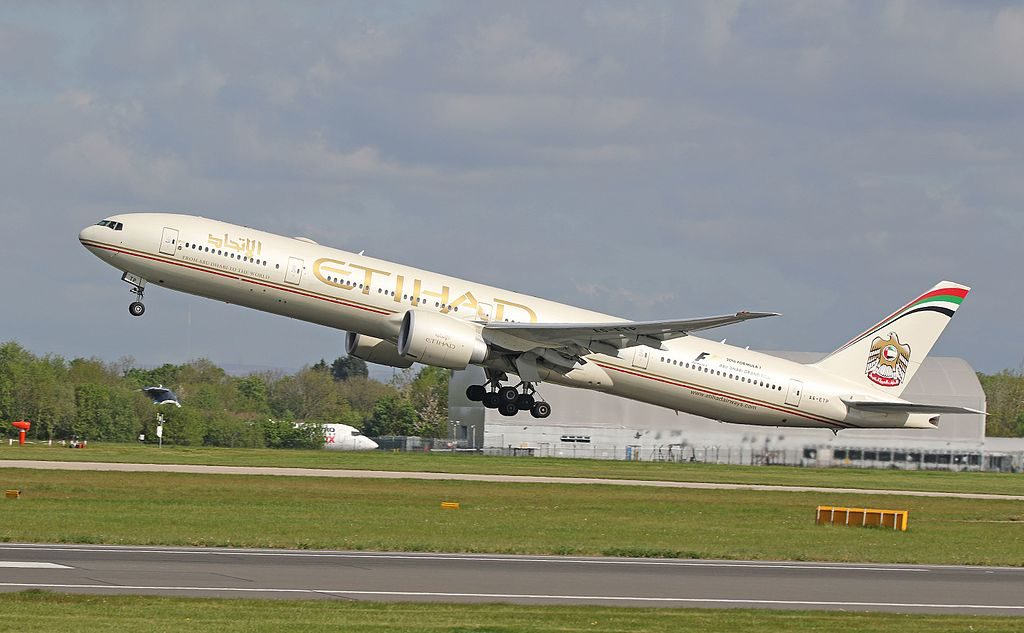 A6 ETP Boeing 777 300ER of Etihad Airways takeoff Manchester Airport