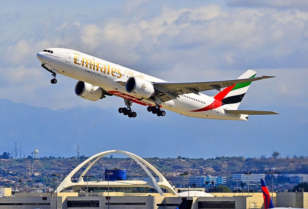A6 EWJ Emirates Boeing 777 21H LR cn 35590 775 departing Los Angeles International Airport
