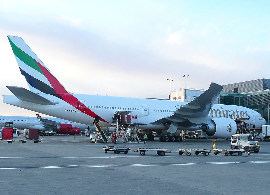 A6 EWJ Emirates Boeing 777 21H LR cn 35590 775 parked at London Heathrow Airport