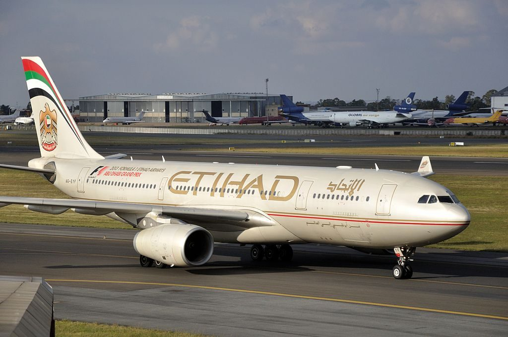 A6 EYF Airbus A330 200 of Etihad Airways at OR Tambo International Airport
