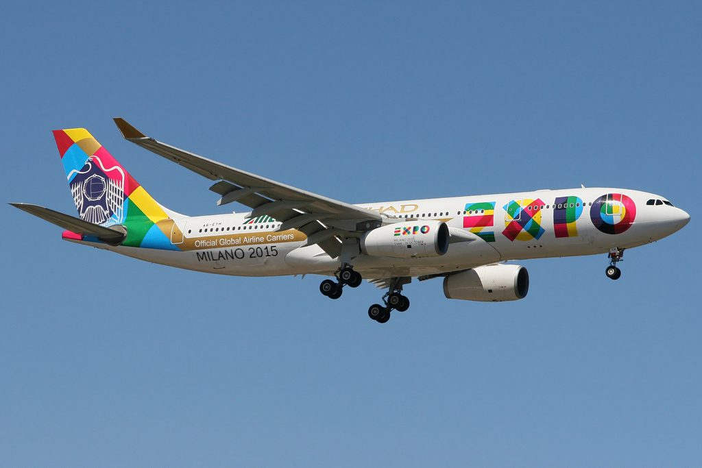 A6 EYH Etihad Airways Airbus A330 200 EXPO Milano 2015 livery landing at Perth Airport