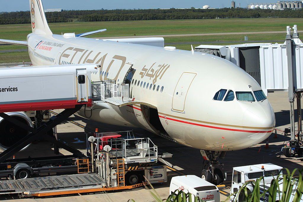 A6 EYP Airbus A330 200 of Etihad Airways at Brisbane Airport