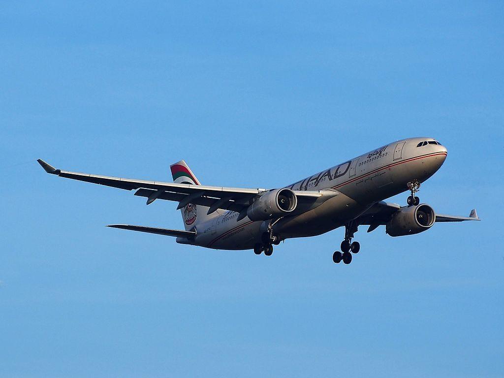 A6 EYQ Etihad Airways Airbus A330 243 landing at Schiphol Airport Amsterdam