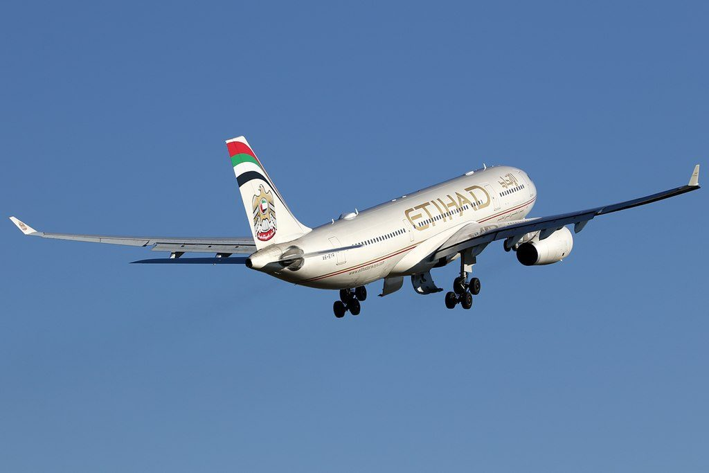 A6 EYR Airbus A330 200 of Etihad Airways climbing up after takeoff at Brussels Airport