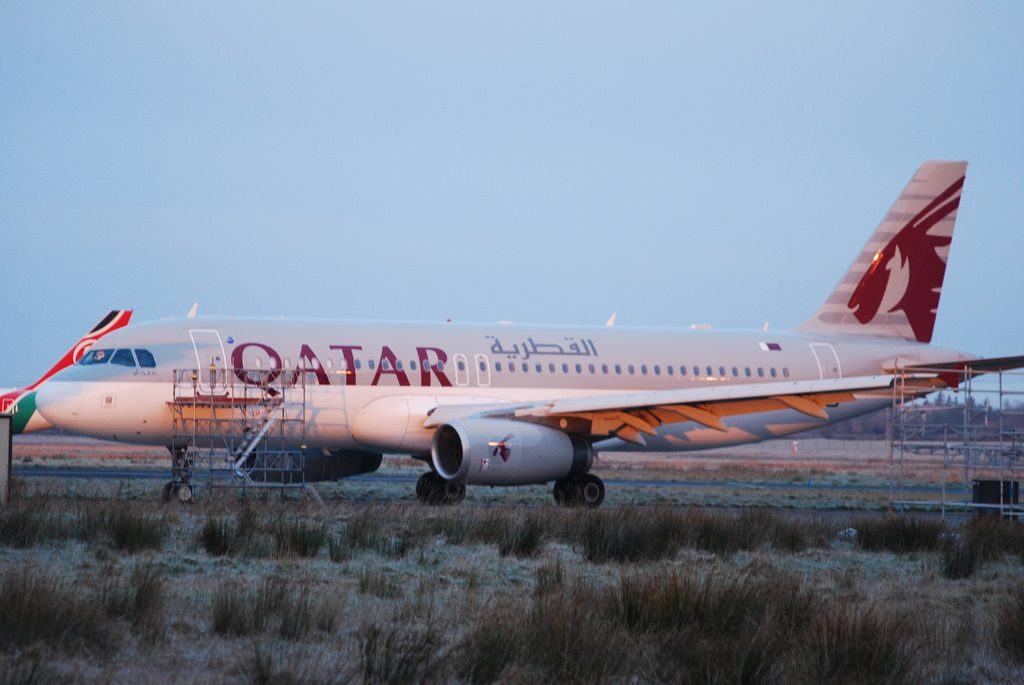 A7 AHG Airbus A320 200 Qatar Airways Arrived at Eirtech Shannon for painting