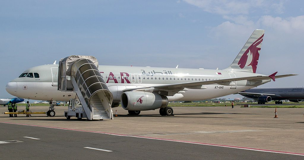 A7 AHS Qatar Airways Airbus A320 232 at Malé International Airport