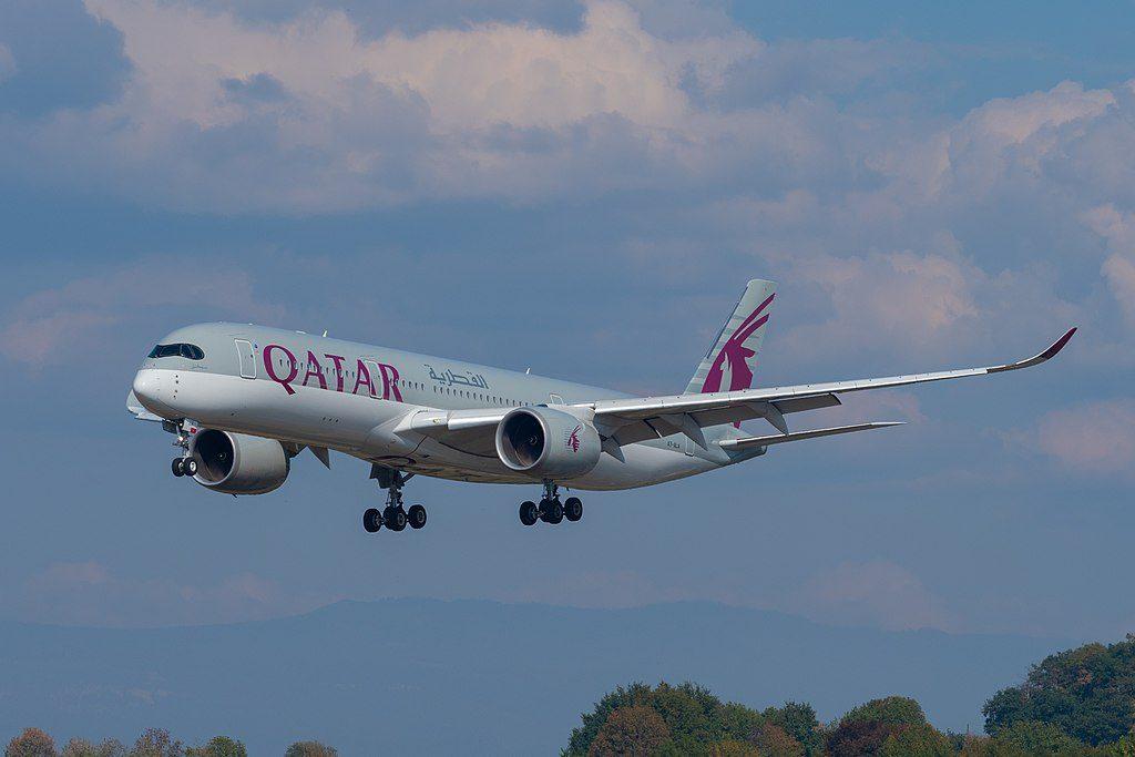 A7 ALA Airbus A350 941 Qatar Airways on final approach at Geneva International Airport