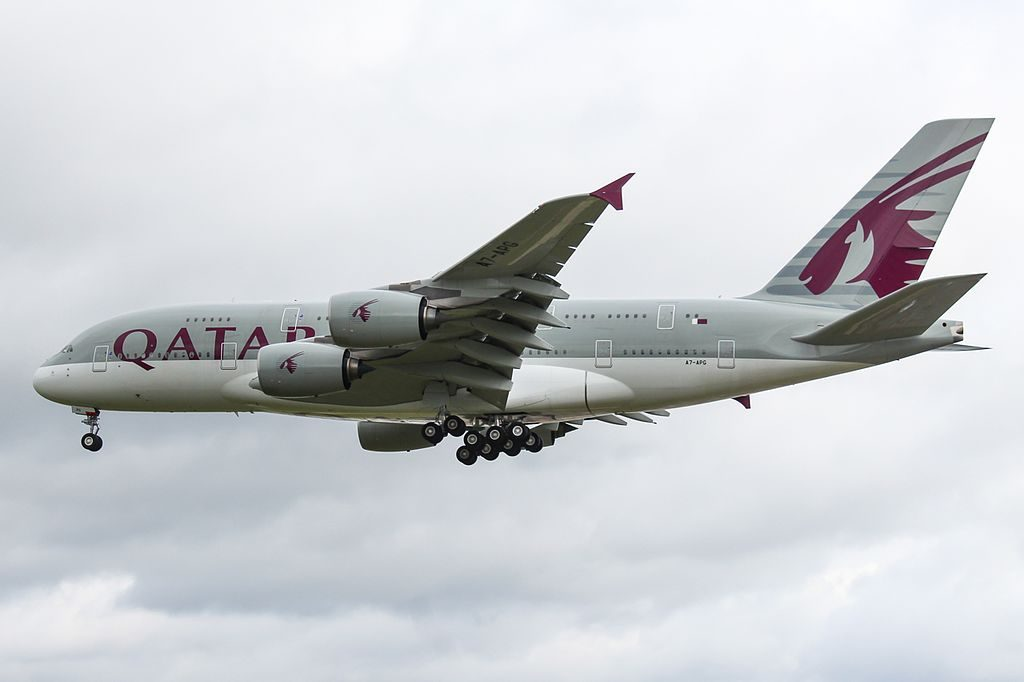 A7 APG Airbus A380 800 Qatar Airways on final approach at LHR