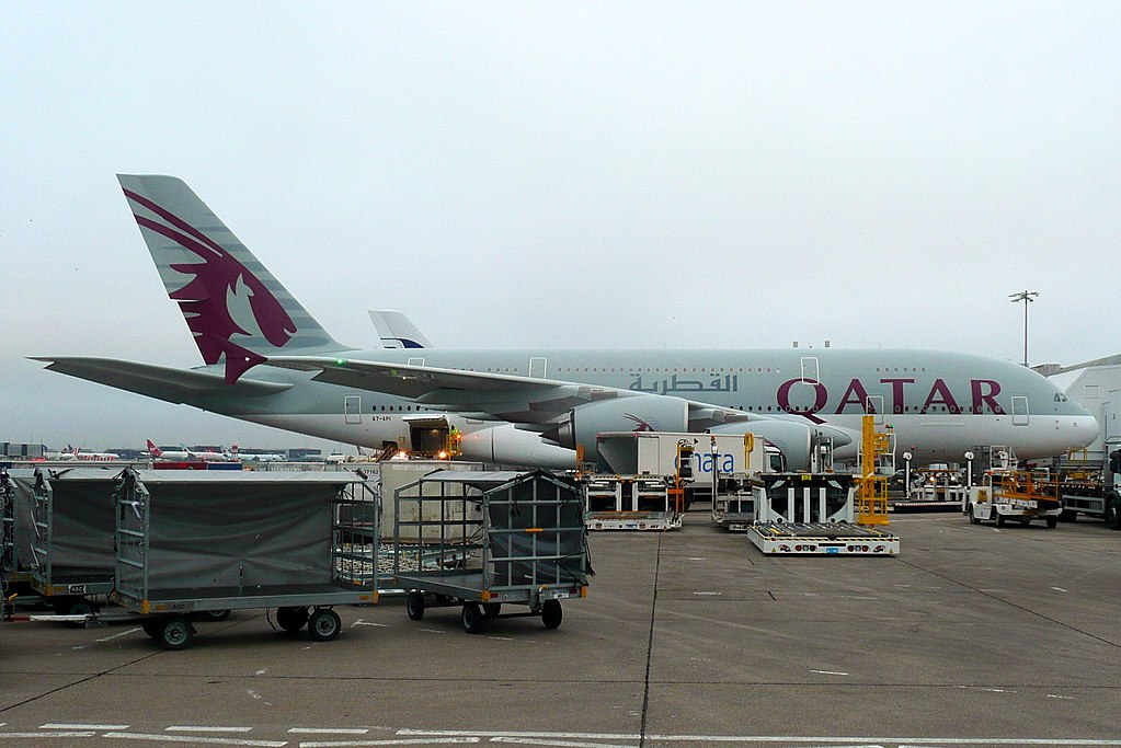 A7 API Airbus A380 800 of Qatar Airways at London Heathrow Airport
