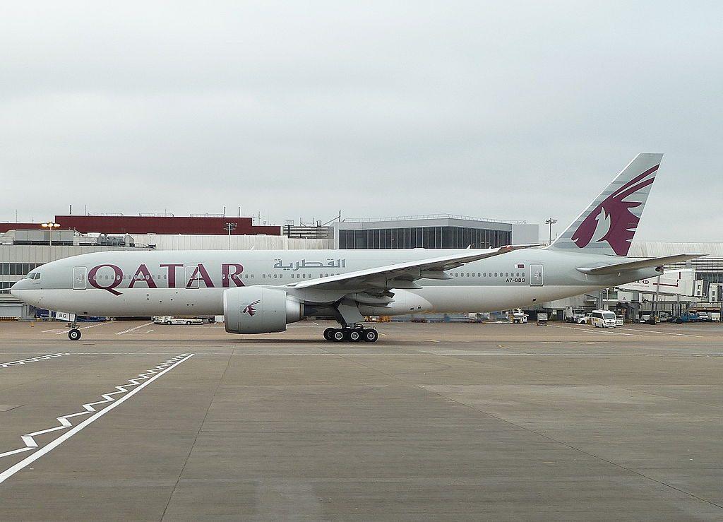 A7 BBG Boeing 777 200LR Qatar Airways taxying for a 27L at London Heathrow Airport