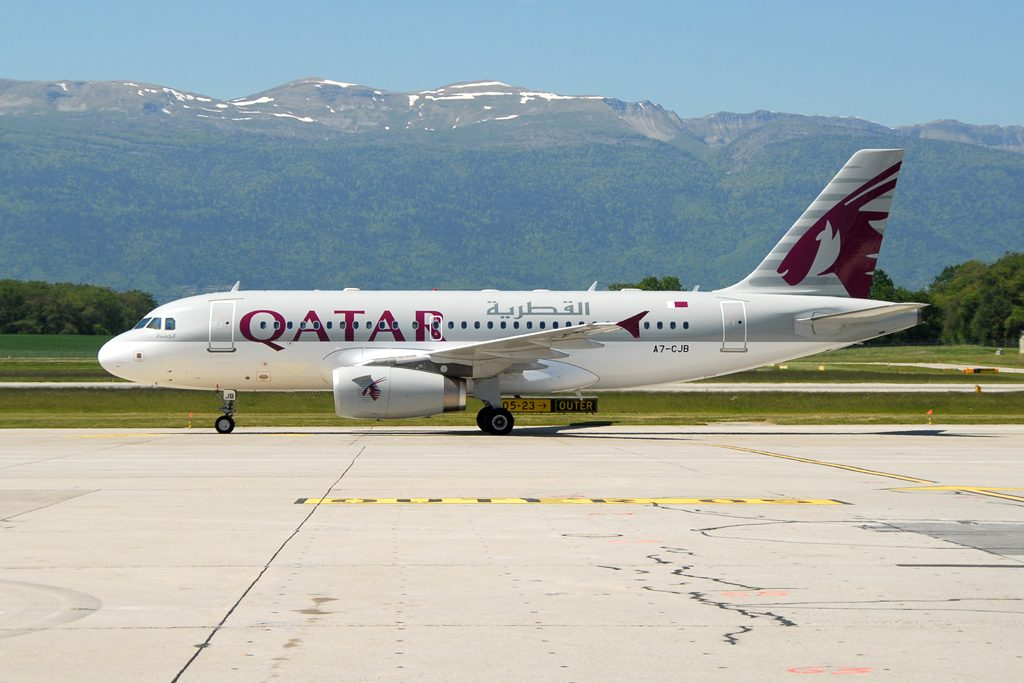 A7 CJB Qatar Aiways Airbus A319 133LR msn 2341 seen at Geneva GVA LSGG