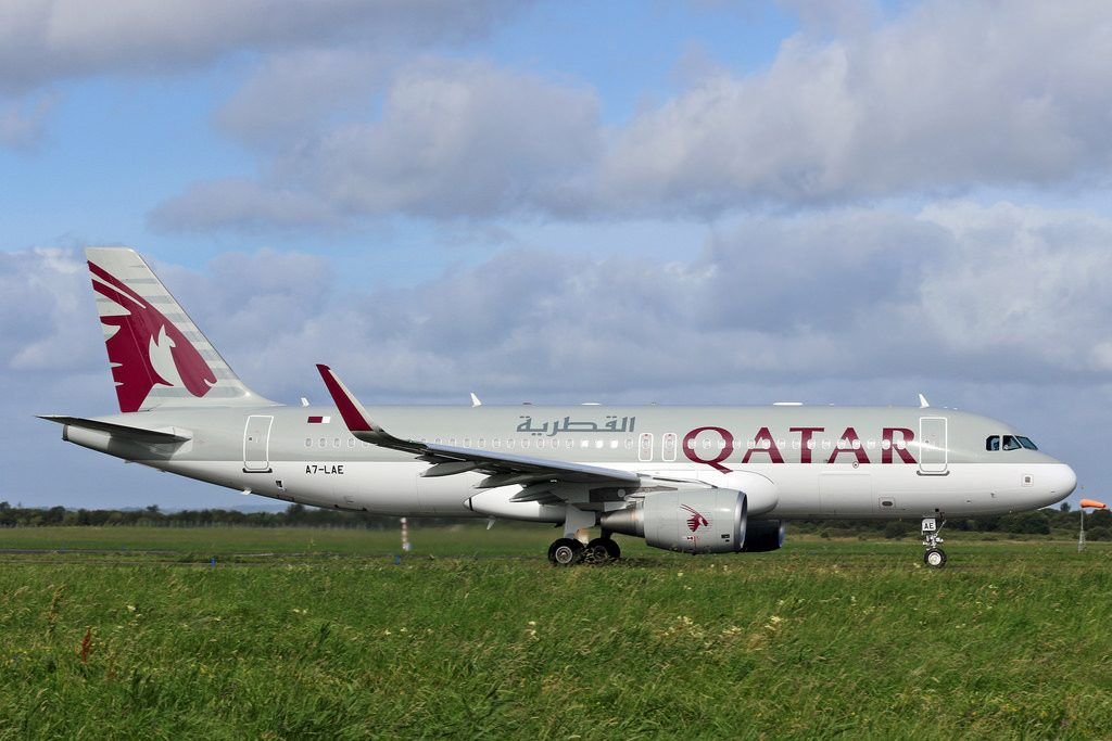 A7 LAE Qatar Airways Airbus A320 200 Departed Shannon after painting from Al Maha colours
