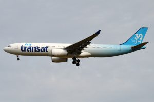 Air Transat 30th Anniversary Livery C GKTS Airbus A330 342 on final approach at Paris Charles de Gaulle Airport