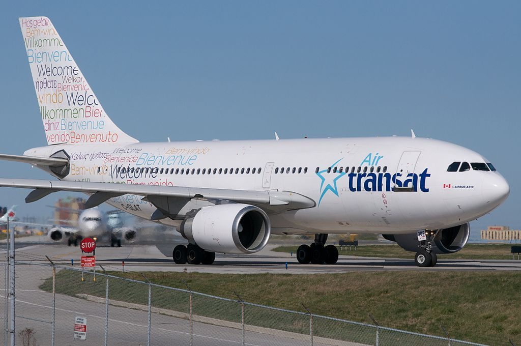Air Transat Airbus A310 300 C GLAT Special Welcome Colour Scheme Lining up for runway 6L Toronto Pearson
