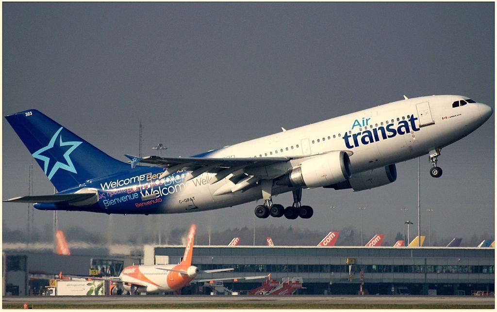 Air Transat Airbus A310 300 C GPAT departing Manchester Airport EGCC