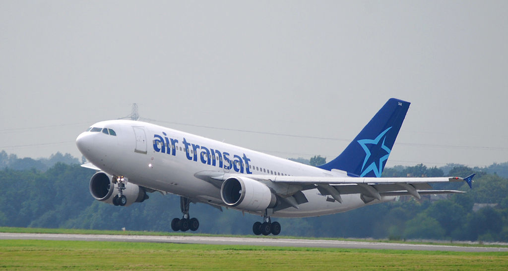 Air Transat Airbus A310 304 Fleet Number 344 C GTSY landing at Manchester Airport