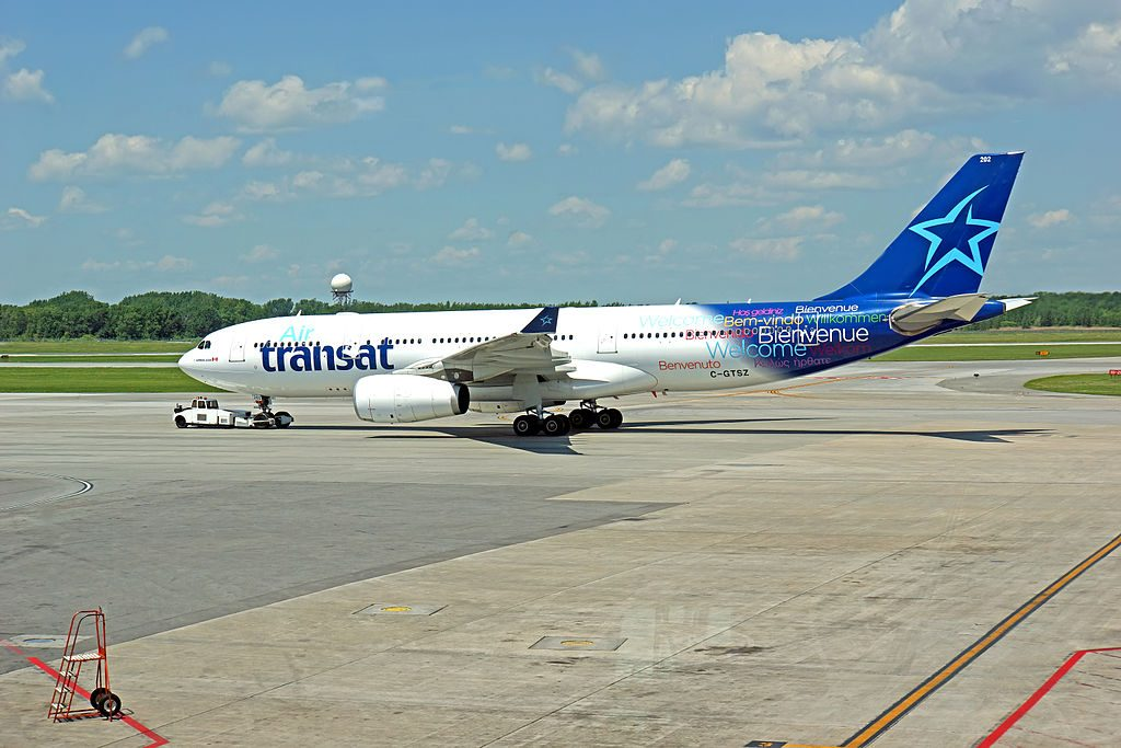 Air Transat Airbus A330 243 C GTSZ pushed back at Montréal Pierre Elliott Trudeau International Airport