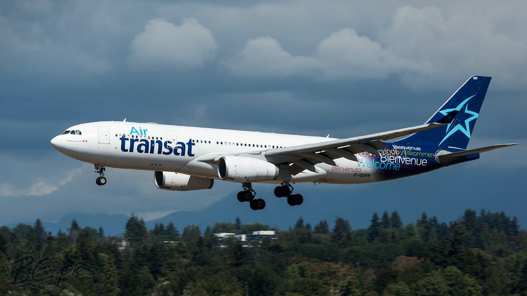 Air Transat Airbus A330 243 C GUFR Ex Emirates A6 EKR on final approach at Vancouver International Airport