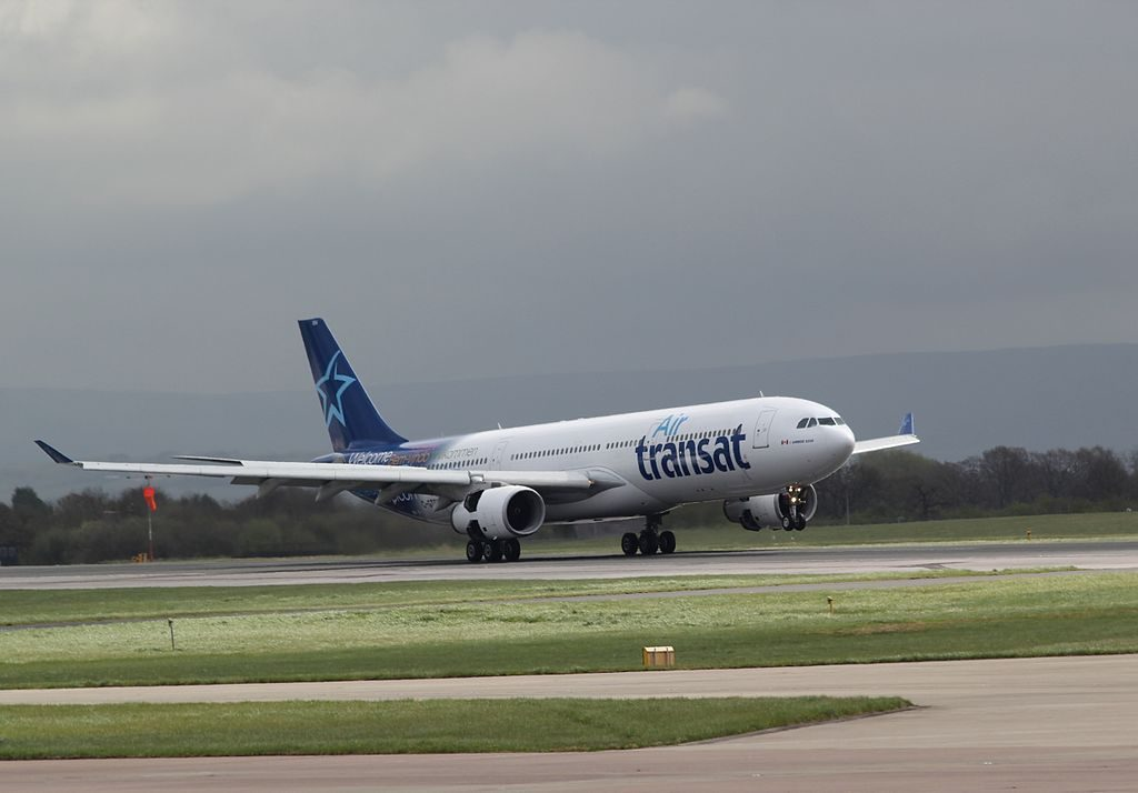 Air Transat Airbus A330 300 C GTSD landing at Manchester Airport