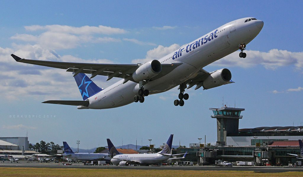 Air Transat Aircraft Fleet Airbus A330 342 C GTSO departing Juan Santamaria International Airport