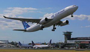 Air Transat Aircraft Fleet Airbus A330 342 C GTSO departing Juan Santamaria International Airport