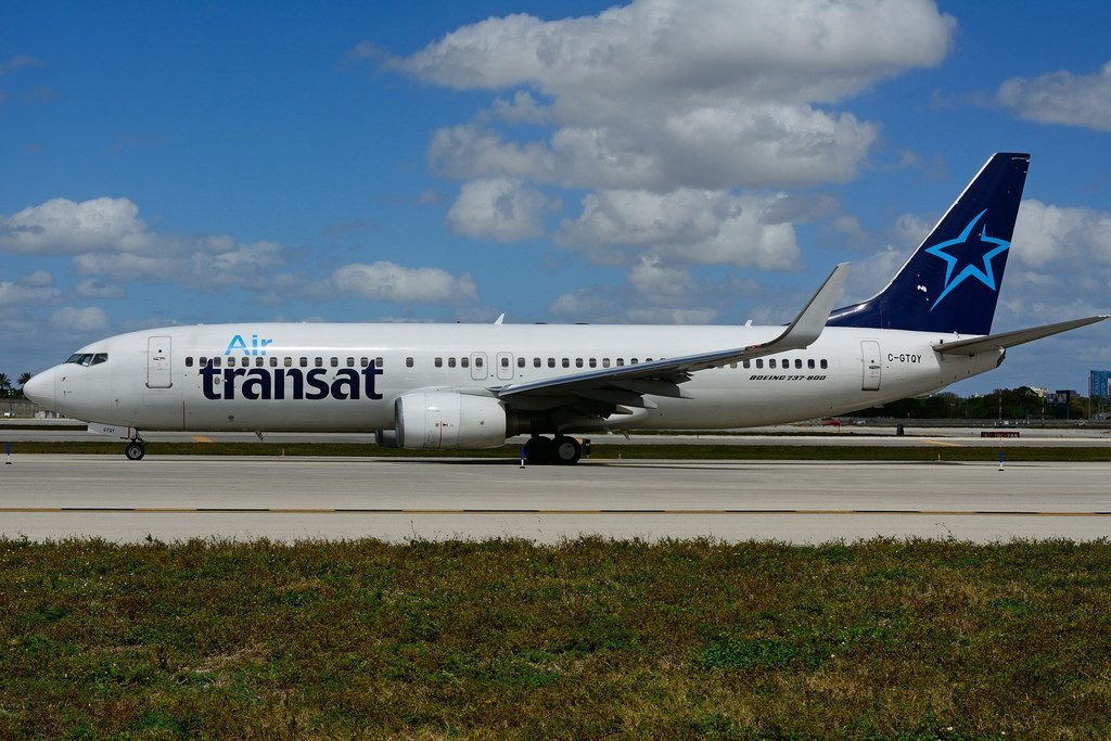 Air Transat C GTQY leased from ILFC Travel Service Airlines at Ft. Lauderdale International Airport FLL Boeing 737 800