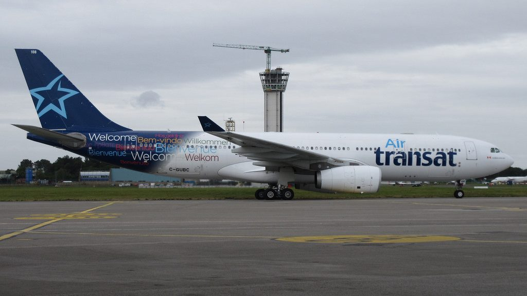 Air Transat C GUBC Airbus A330 200 seen taxiing in to park in Dublin Airport
